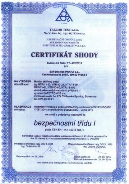 Сертификат Safetronics NTR