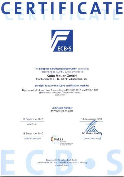 Certificate ECB-S - KABA MAUER 71111