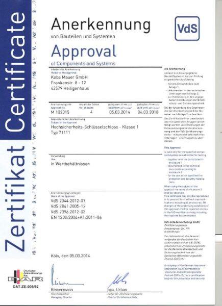 Certificate VDS - KABA MAUER 71111