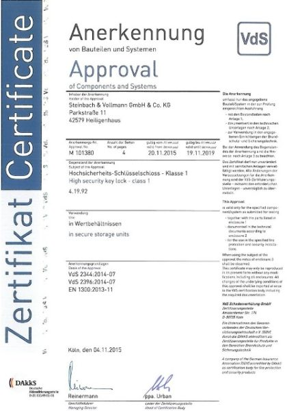 Сертификат Class A на замок STUV 4.19.92 (Vds1)