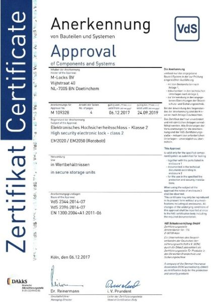 Сертификат Class B на замок M-Locks EM 2020 (Vds2)