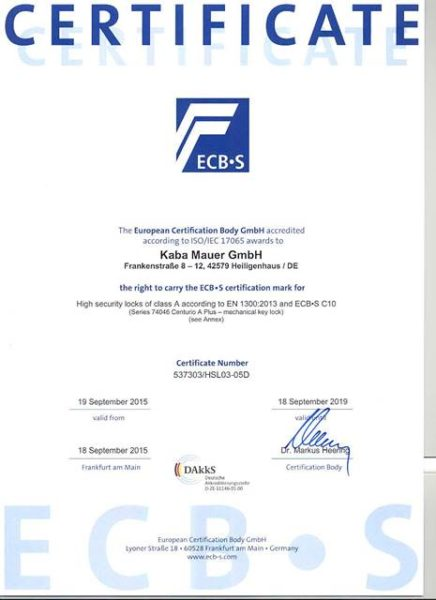 Certificate ECB-S - KABA MAUER 74046