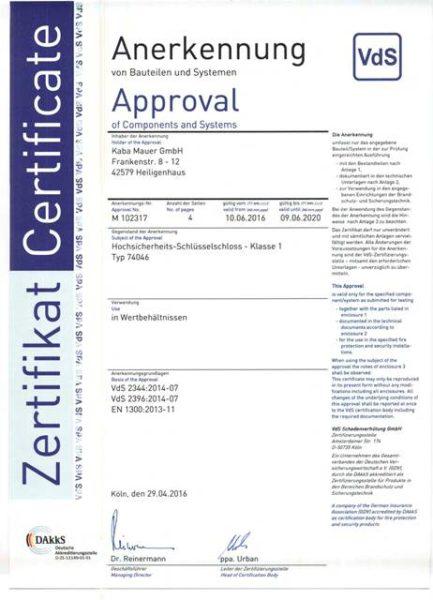 Certificate VDS - KABA MAUER 74046