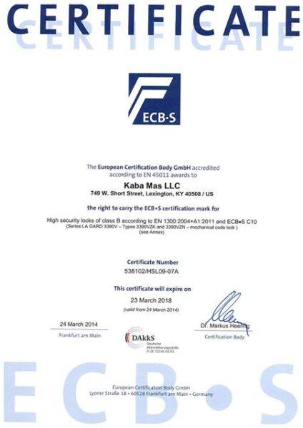 Сертификат взломостойкости La Gard 3390 (ECB-S)