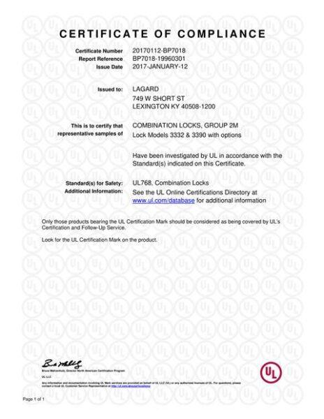 Сертификат взломостойкости La Gard 3390 (UL)
