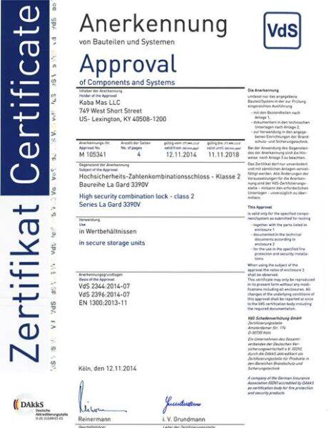 Сертификат взломостойкости La Gard 3390 (VdS)